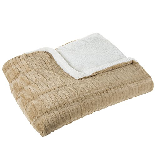 Lavish Home Fleece and Sherpa Blanket - King - Taupe