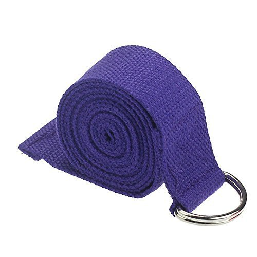 Eforstore 72 Inch Cotton Yoga Strap Stretching Band Rope Fitness Belt Tension Straps Resistance Bands with Metal D-Ring for Pilates Stretch Exercises (Dark Purple)