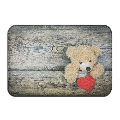 (SPXUBZ Teddy Bear with Heart Valentines Day Non Slip Entrance Rug Outdoor/Indoor Durable and Waterproof Machine Washable Door mat Size:23.6x15.7 inch)