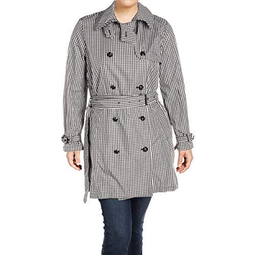 LAUREN RALPH LAUREN Womens Adalonie Fall Double Breasted Trench Jacket B/W 10 Black/White