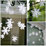 Get Orange Pack of 4 10-feet Long Paper stereoscopic Snowflakes Christmas Hanging Decoration String Paper Garland Wedding Birthday Party Baby Shower Background winter Decorative (white)
