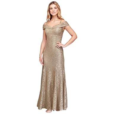 0378d6daddc Cold-Shoulder Glitter Lace Mermaid Mother of Bride Groom Dress Style 2047  at Amazon Women s Clothing store