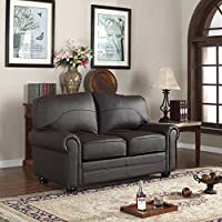 Divano Roma Furniture Traditional Collection - Brown REAL Leather Upholstered Loveseat (Brown)