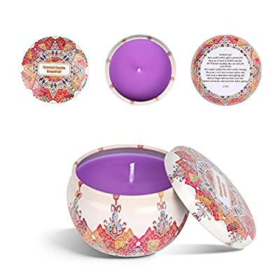 Scented Candles Gift Set(Jasmine, Grapefruit?Peach & Lotus Laluztop 100% Soy Candles Scented and Organic Candles, Pretty Small Mini Massage Relaxing Travel Tin Aromatherapy Candles on Sale - 4 Pack