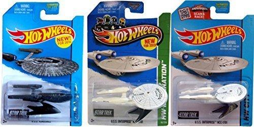 (Hot Wheels 3 Star Trek Set USS Enterprise Star Ships & USS Vengeance HW Space Team NCC-1701)