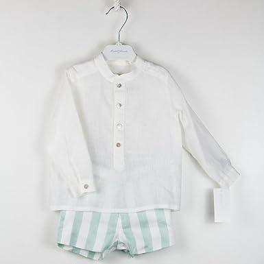 ARANDA - Camisa NIÑO Lino con Short bebé-niños Color: Verde Talla: 12M: Amazon.es: Ropa y accesorios