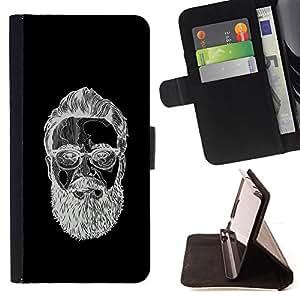 BullDog Case - FOR/LG OPTIMUS L90 / - / BEARDED MAN BLACK WHITE SKETCH /- Monedero de cuero de la PU Llevar cubierta de la caja con el ID Credit Card Slots Flip funda de cuer