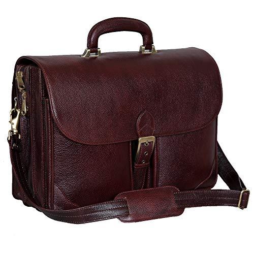 HYATT Leather Accessories 16.5 Inch Laptop Briefcase for Men (Colour: Brown)