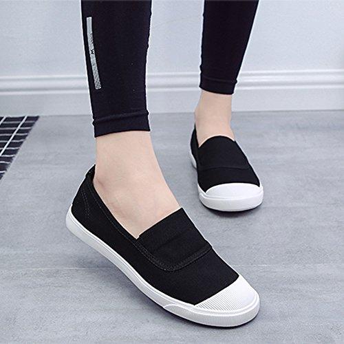 Minetom Mujer Chicas Moda Lona Zapatos Punta Redonda Tacón Plano Espadrilles Ocio Zapatos Negro 36 H6u0ibCE