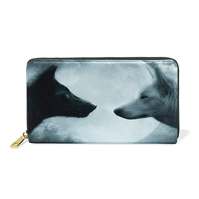Amazon.com: Wolves Moon Night Wallet - Monedero de piel con ...