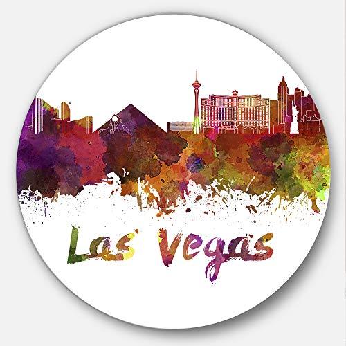 - Designart Las Vegas Skyline Cityscape Metal Wall Art - Disc of 23 inch, 23X23-Disc, Purple/Yellow/Red/Pink