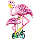 Pink Flamingo Mother and Baby Swarovski Crystal Pin Brooch