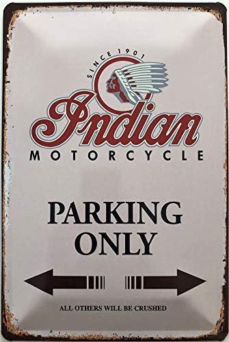 30 x 20 cm, Since 1901 Indian Motorcycle Parking Only 30 x 20 cm Deko7 Cartel de chapa