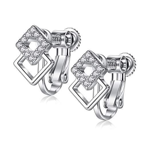 EVBEA Clip on Earrings Studs Hypoallergenic Dainty Cubic Zirconia Screw on Earrings for Women Geometric Girl Jewelry with Gift Box