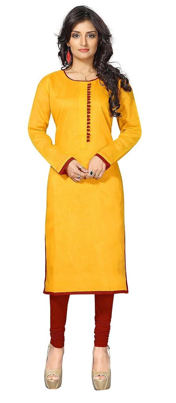 Khushali Presents Chanderi Stylish Kurti(Yellow)