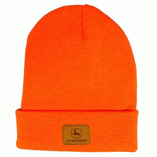 John Deere Men's Solid Beanie, Orange, One -