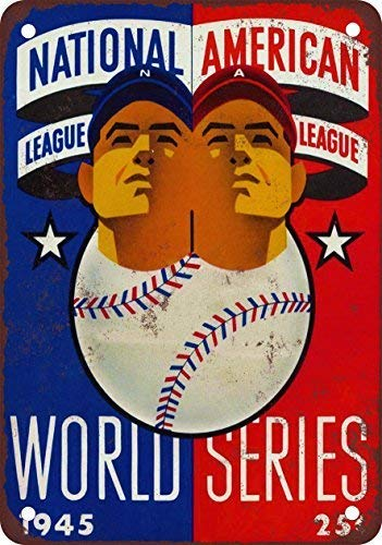 """World Parking Series Sign - Fabri.YWL 1945 World Series Vintage Look Reproduction Metal Tin Sign 8"""" x 12"""" Inches Vintage Aluminum Retro Metal Sign"""