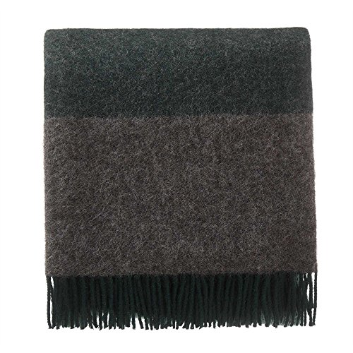 URBANARA 100% Pure Wool Throw Karby 55x87 Dark Green/Grey Melange with Fringe - Virgin Wool Blanket in Windowpane Design - Perfect for Couch, Sofa, Bedroom, King or Queen Size Bed