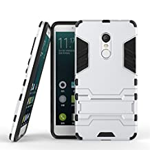 Xiaomi Redmi Note 4X Cover DWaybox 2 in 1 Hybrid Heavy Duty Armor Hard Back Case Cover with kickstand for Xiaomi Redmi Note 4X / Xiaomi Redmi Note 4 / Hongmi Note 4 5.5 Inch (Silver)