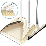 "SLC Broom and Dustpan set, 3 Piece Grips Sweep Set with Dust Pan, Wipe and Dry Floor Squeegee, 48.3"" Long Handle Extendable Lobby Broom Combo Set for Cleaning Home Kitchen Garden Room Office Floor"