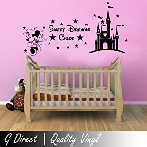 Personalised Sweet Dreams Princess Minnie Mouse Wall Sticker Girls Bedroom  Decal 100x55 Part 84