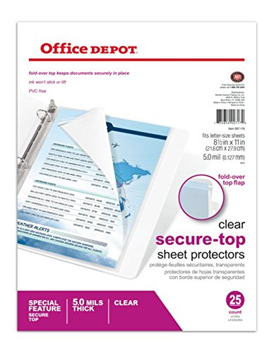 - Office Depot Brand Secure Top Sheet Protectors