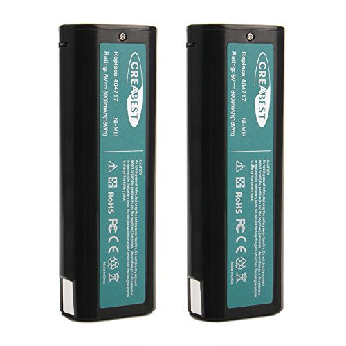 Creabest 6V 3.0Ah Ni-MH Battery Replace for Paslode 404717 B20544E 404400 900400 900420 900421 900600 901000 902000 B20720 CF-325 IM200 IM250 IM250A IM350A PS604N Drill Tool Replacement Battery 2Packs by Creabest