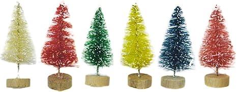 12//24pcs Artificial Tabletop Christmas Pine Tree Xmas Mini Snow Trees Mini Decor