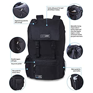 Hiking Backpack Cooler Bag - Insulated Large Camping Back Pack for Men Women Travel Picnic & Lunch - For Fishing Hunting & Backpacking - With 2 Ice Coolers