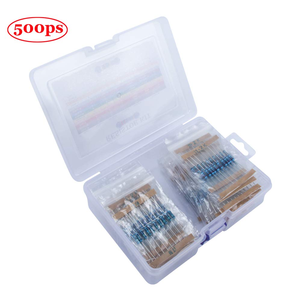 TeOhk 600Pcs Kit di Resistori Elettronici per Film Metallici 30 Valori 1/% 1//4W Resistori Assortiti per Esperimenti e Progetti Fai-Da-Te