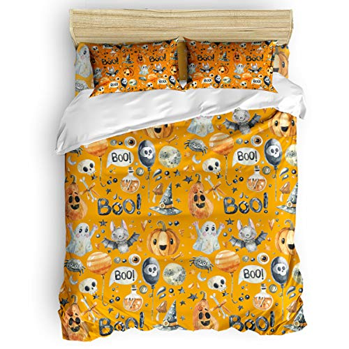 Pink Sky 4 Pieces Bedding Duvet Cover Set,Halloween Pumpkin Ghost and Bats Luxury Durable Bed Sheet Sets,Includes 1 Duvet Cover + 1 Flat Sheet+ Pillow Shams for Men/Women Home Decor -
