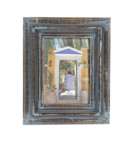 Deco 79 79053 Rectangular Wooden Photo Frame, 10″ x 8″, Brown/Blue Review