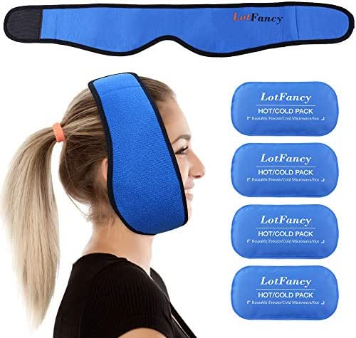 LotFancy Gel Ice Pack with Stretch Wrap, Reusable Hot Cold Pack for Therapy, Pain Relief for TMJ, Wisdom Teeth, Face, Head, Chin Jaw Oral and Facial Surgery, Dental Implants
