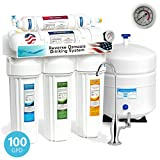 Express Water 5 Stage Under Sink Reverse Osmosis Filtration System 100 GPD RO Membrane Filter Deluxe Faucet Pressure Gauge - Ultra Safe Residential Home Drinking Water Purification - One Year Warranty