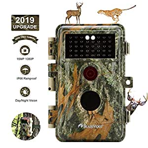 """[Upgraded]BlazeVideo 16MP 1080P Game Trail Wildlife Deer Hunting Camera No Flash 38pcs Invisible IR LED Waterproof IP66 65ft Night Vision with Motion Activated PIR Sensor Animals Surveillance 2.4"""" LCD"""