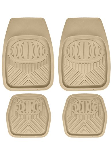 Mann Pack of 4 Front & Rear, Driver & Passenger Seat Ridged Heavy Duty Rubber Floor Car Mats Tobacco