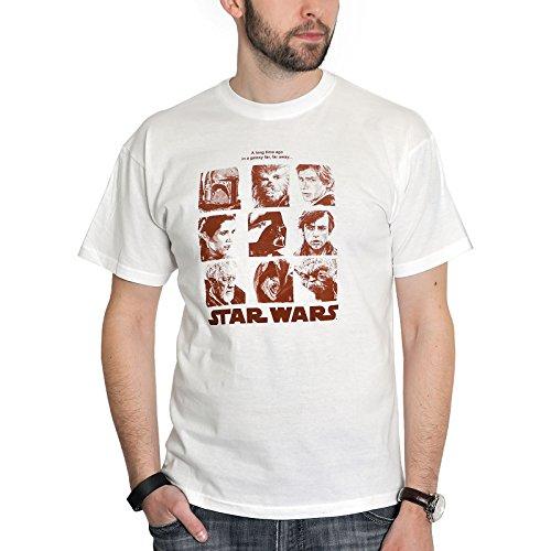 Star Wars - T-Shirt con ritratto degli eroi della saga di Star Wars - Con licenza ufficiale - Cotone bianco