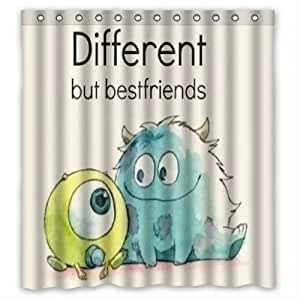 Custom Personalize Different But Best Friend Printed Fabric Shower Curtain Polyester Waterproof/Bathroom Curtains with Free Hooks Multicolor/White (66-inch By 72-inch)