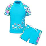 HUANQIUE Girls Swimsuit UPF50+ 1-12 Years Two Piece Tankini