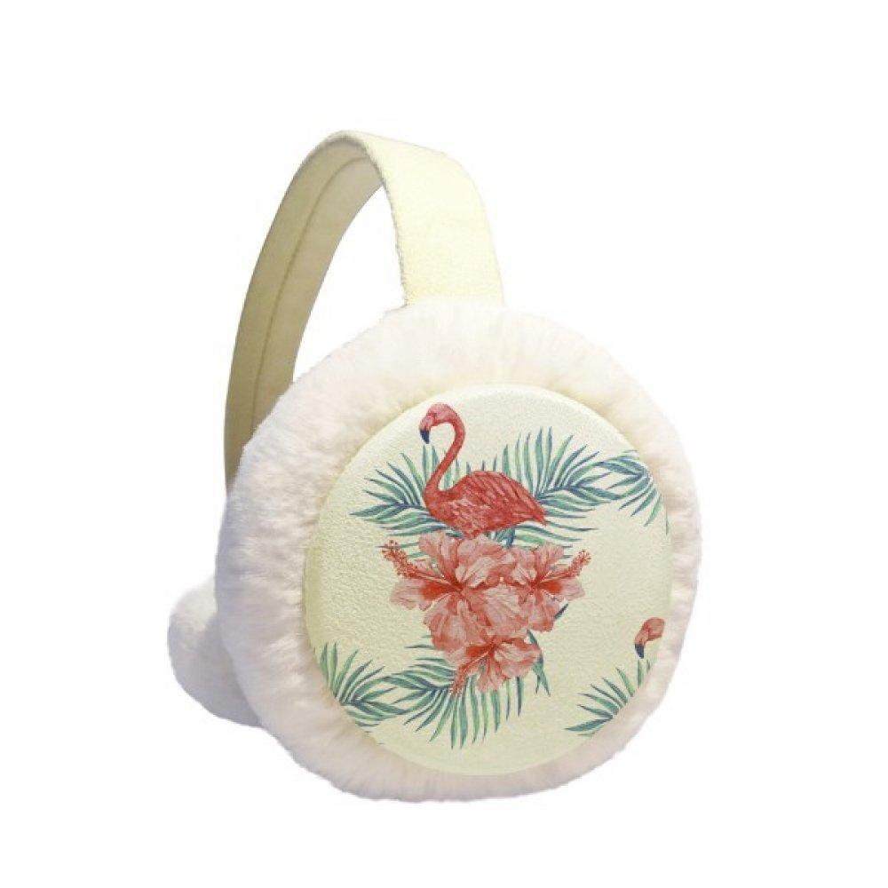 Flamingo Plant Leaf Symbol Winter Earmuffs Ear Warmers Faux Fur Foldable Plush Outdoor Unisex Gift DIYlab sku00903339b873158f27344
