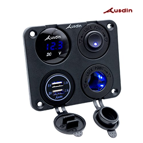 Led Rocker Switch Panel-Ausdin Led Light Bar Switch Panel Dual USB Socket 4.2A Charger 14AWG Wiring Harness Waterproof Switch Panel Rocker Switch Panel (Dual Wiring Switch)