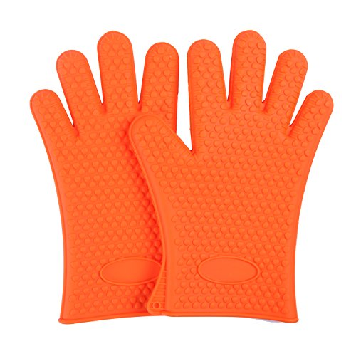 HDE Silicone Cooking Gloves - Heat Resistant Oven Mitt for Grilling, BBQ, Kitchen - Safe Handling of Pots and Pans - Cooking Baking Non-Slip Pot Holders