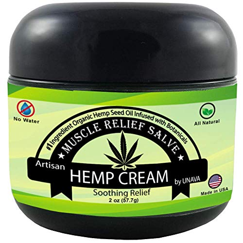 Herbal Hemp Cream - Relieves Inflammation, Joint, Muscle, Knee, Back & Nerve Pain - 0% Water, 100% Natural - Holistic Salve Organic Hemp - Eucalyptus Peppermint Essential Oils ()