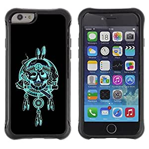 Suave TPU GEL Carcasa Funda Silicona Blando Estuche Caso de protección (para) Apple Iphone 6 / CECELL Phone case / / Indian Chief Feathers Hatchet Skull /