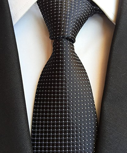 New Classic Checks Black White JACQUARD WOVEN 100% Silk Men's Tie - Jojo Armani