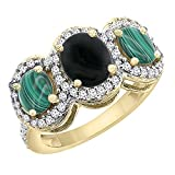 10K Yellow Gold Natural Black Onyx & Malachite 3-Stone Ring Oval Diamond Accent, sizes 5 - 10