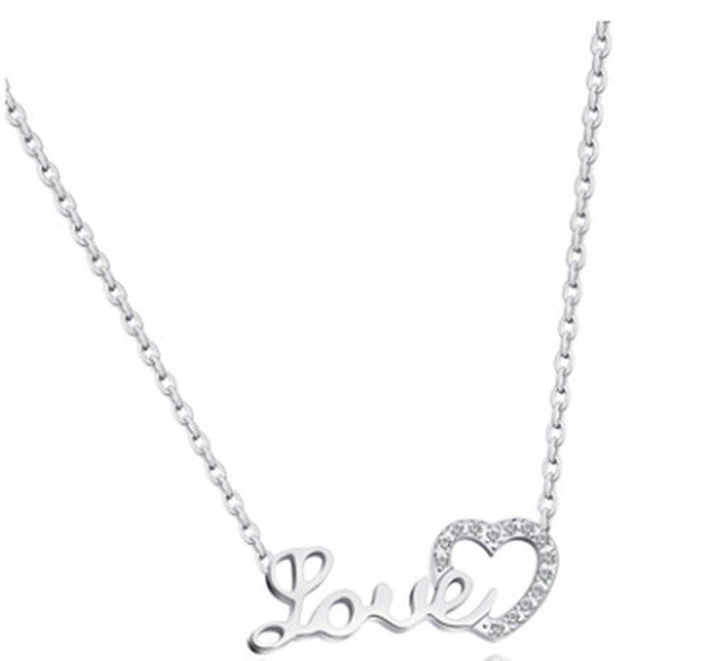 LOVE Micro Stainless Steel LOVE Edged Diamond Collarbone Necklace