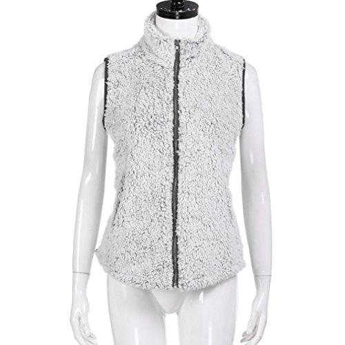 Mujer Chaleco Chaleco Sintética Piel Invierno para Mujer Gris Outwear Cálido de de Casual KaloryWee de y qHCd6q