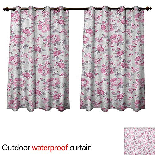 Anshesix Shabby Chic Outdoor Balcony Privacy Curtain Pink Roses with Grey Leaves Garden Bedding Plants Spring Blossoms W108 x L72(274cm x 183cm)