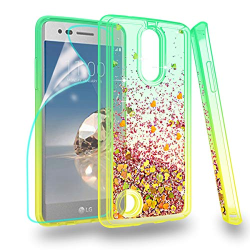 ZingCon LG Aristo Case,Risio 2/Phoenix 3/Fortune/ms210/K8 2017/LV3 with Quicksand Bling Adorable Shine,[HD Screen Protector] Shockproof Hybrid Hard PC Soft TPU Protective Cover-Green/Orange